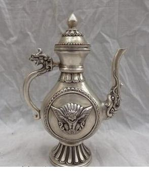 "decoration copper silver factory China White Lucky  8"" Chinese Silver Dragon Unicorn Head Statue Redpoll Buddha Wine Pot Teapot"