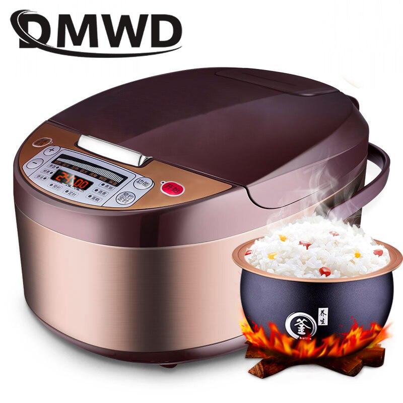 DMWD multi-fonction automatique cuiseur à riz 5L Timing anti-adhésif riz marmite alimentaire chauffage vapeur soupe ragoût gâteau yaourt fabricant