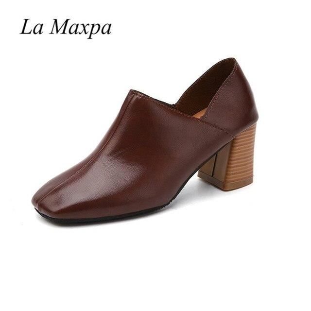 La MaxPa yüksek topuklu PU deri ayakkabı kadın kalın yüksek topuklu pompalar sığ bayanlar ayakkabı bahar kare ayak kayma lady ayakkabı