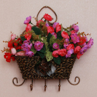 Rattan wall basket fashion rustic rattan flower floral device vintage muons wall decoration coat hooks