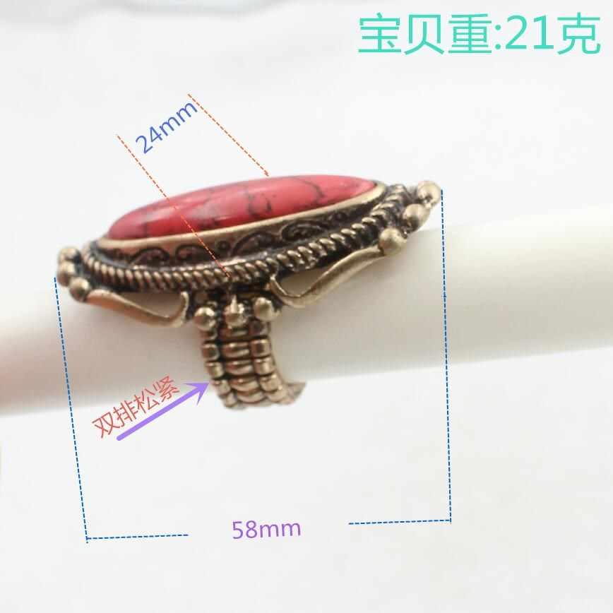 1 pçs retro bronze cor elástica tamanho festa de casamento do vintage vermelho pedra anéis de instrução para as mulheres liga níquel livre wj241