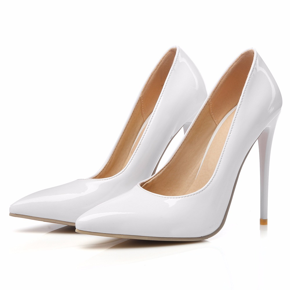 Wedding shoes woman party high heel ladies pumps sexy pointy toe white and red super high heels shoes slip on max size 45 46 47 in Women 39 s Pumps from Shoes