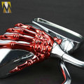New 8mm&10mm Universal Motorcycle Mirrors Rearview Mirror RED Monster Skull Claw
