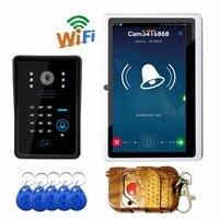Smart Phone remote entsperren wifi türklingel mit Rfid karte fernbedienung passwort entsperren wifi video türsprechtürklingel-in Überwachungssystem aus Sicherheit und Schutz bei