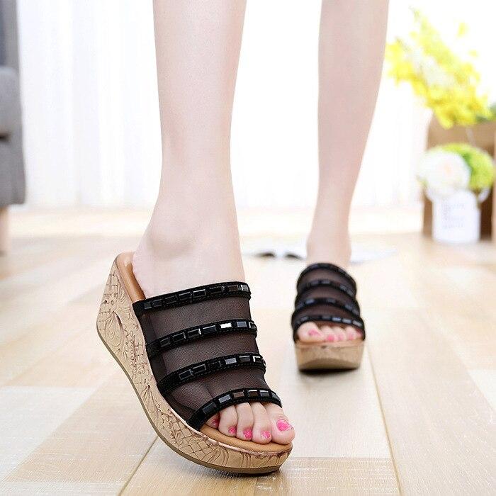 Charm Women Flip Flops High Heel Slippers Platform Wedge Sandals Beach Shoes