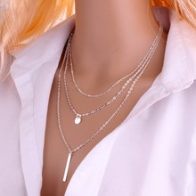 2017 New Arrival Fashion Gold Color 3 Layer Chain Necklace Hollow Out Triangle Long Pendant Necklaces Jewelry Free shipping