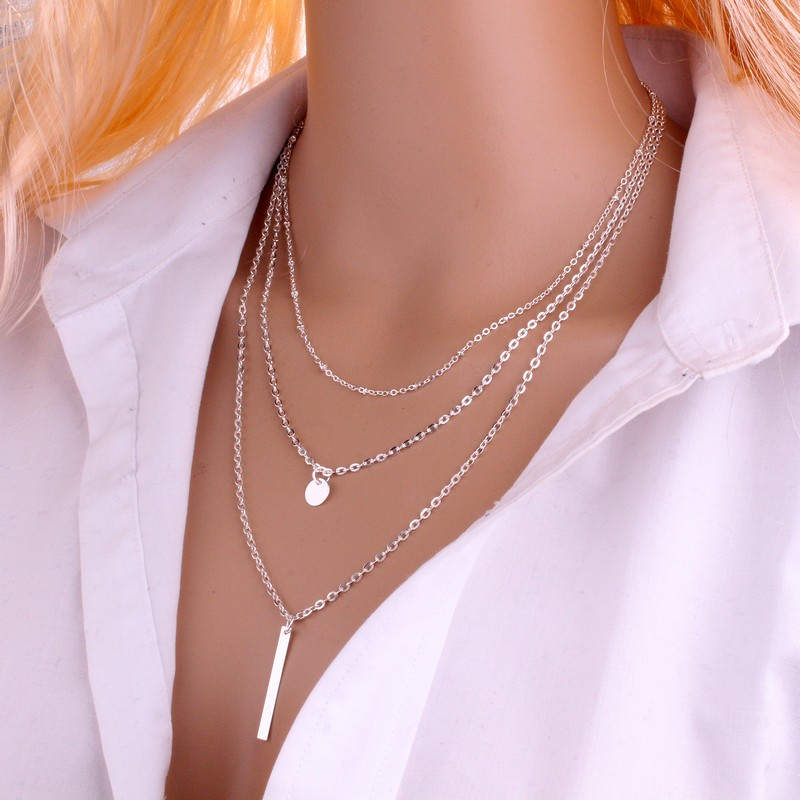 2018 New Women Fashion Gold Color 3 Layers Chain Necklace Hollow Out Triangle Long Pendant Necklaces Jewelry Free shipping