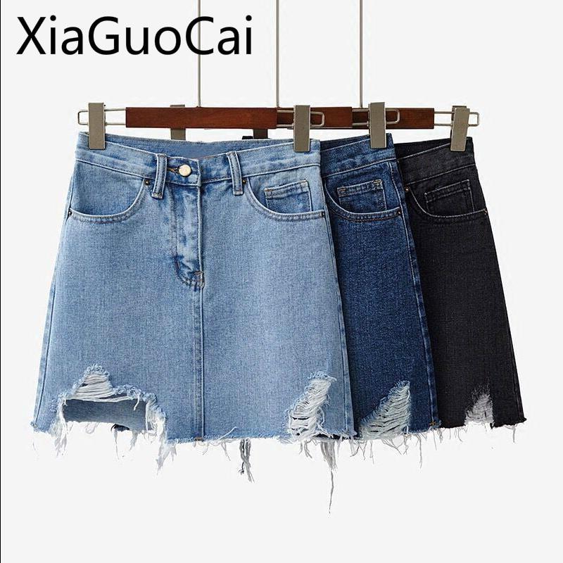 2019 Spring And Summer Newest Women Denim Skirt Female Hole A Word Half Student Wild Skirt Harajuku Women Skirts