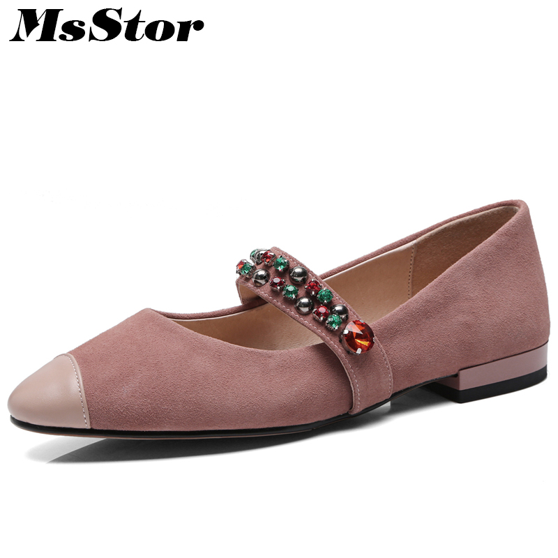 MsStor Pointed To Low heel Women Pumps Fashion Shallow Crystal Square heel Women Shoes Casual Mary Janes Pumps Shoes Woman 2018