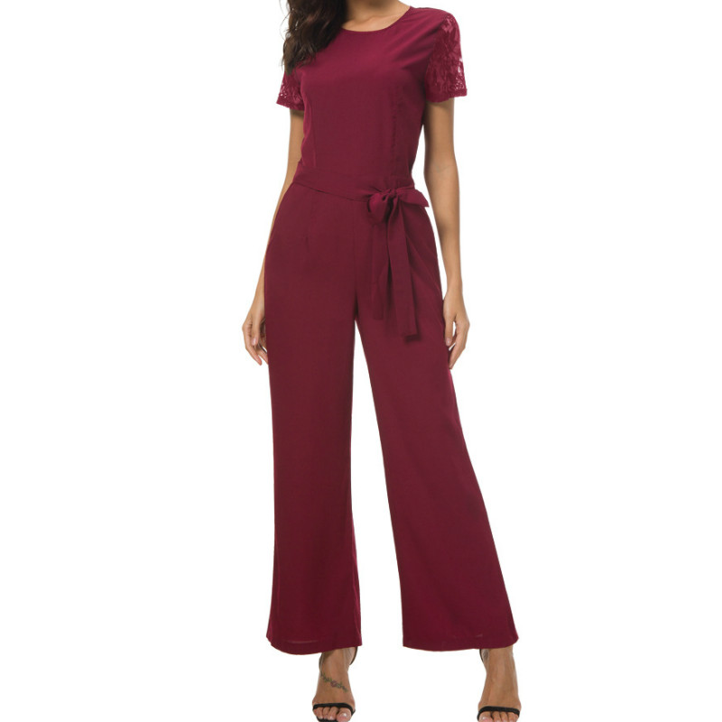 Lace Short Sleeve Slashes Rompers Long Pants Pockets 2018 Summer Jumpsuits Office Lady Casual Elegant Jumpsuits Plus Size GV895