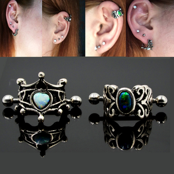 1Pcs 316l Surgical Steel Vintage Opal Ear Cartilage Cuff Rings Piercing Heart Oval Earring For Woman Piercing Body Jewelry