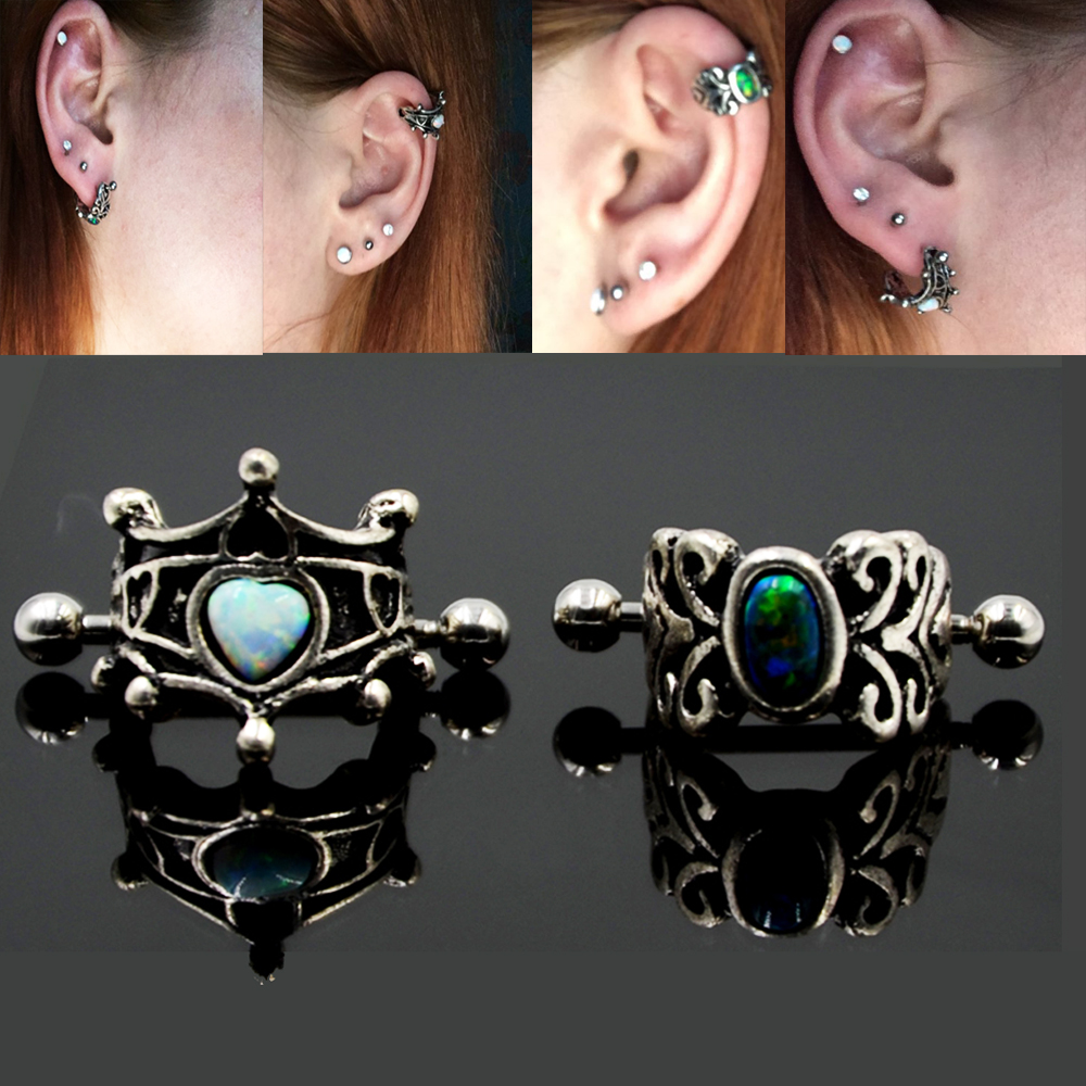 1Pcs 316l Surgical Steel Vintage Opal Ear Cartilage Cuff Rings Piercing Heart Oval Earring For Woman Piercing Body Jewelry ...
