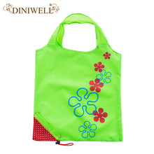 DINIWELL New cute strawberry bag folding ladies shopping bag reusable foldable polyester bag 11 colors(China)