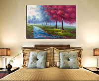 Superb Artist Hand painted Red Tree Oil Painting Modern Wall Acrylic Paintings for Living Room Decor Road Landscape Art Pictures