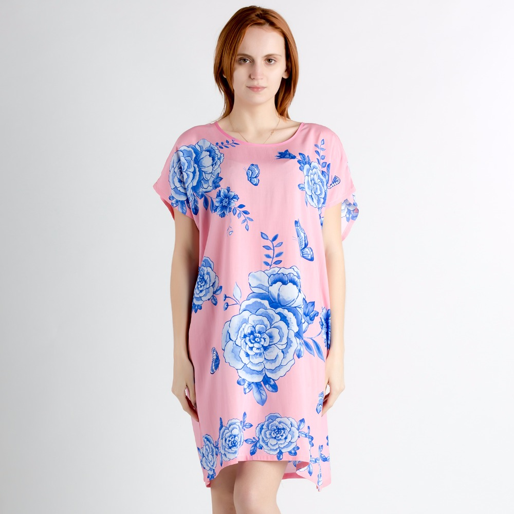 Pink Sexy Chinese Women Cotton Nightgown Sleepwear With Sashes Novelty Print Nightwear Flower Night Home Dress One Size