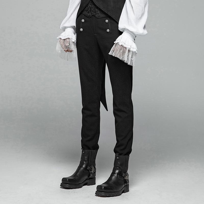 فاسق الهذيان جديد القوطية الشكل نمط الرجال أسود السراويل أزرار الديكور حزب عارضة عالية الجودة العسكرية البصرية كى السراويل-في سروال كاجوال من ملابس الرجال على  مجموعة 2