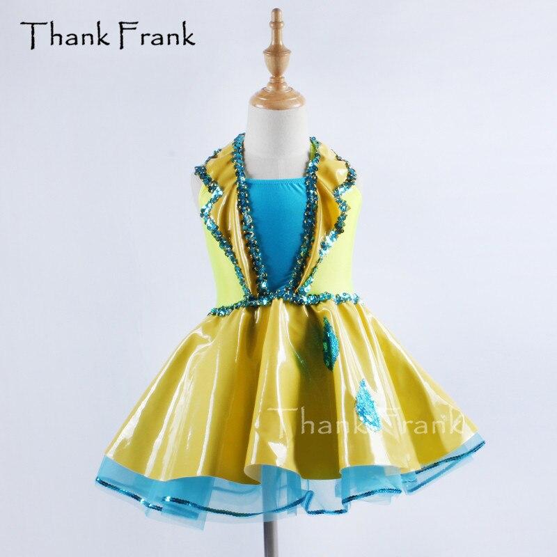 Metallic Yellow Ballet Tutu Dress Girls Adult Palace Style Sequin Dance Costume Thank Frank C389