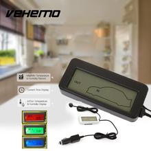 Vehemo Mini Digital LCD Car Thermometer Voltmeter Auto Indoor/Outdoor Temperature Meter Gauge Instruments DC 12-24V