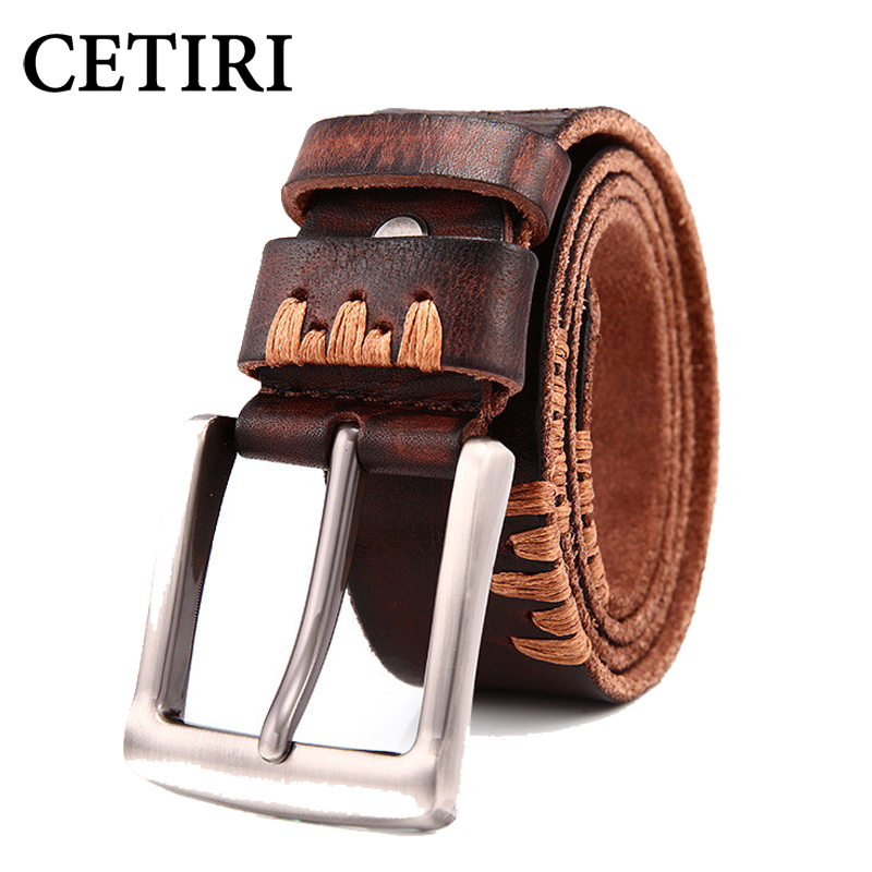 CETIRI 2017 handmade designer original genuine leather belts for men high quality luxury pin buckle men belts kemer cinturon
