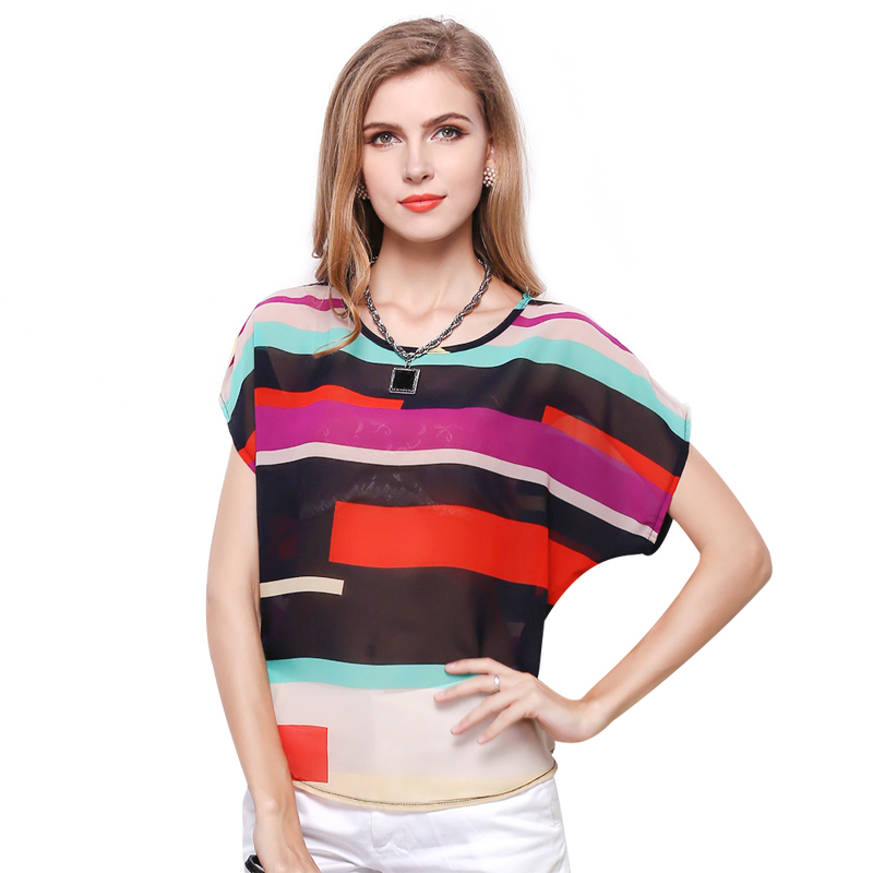Ženska moda prugasta šifon bluza više boja ispis košulje labav kratki rukav povremeni bluzu Femininas plus veličina blusas vrhovima  t