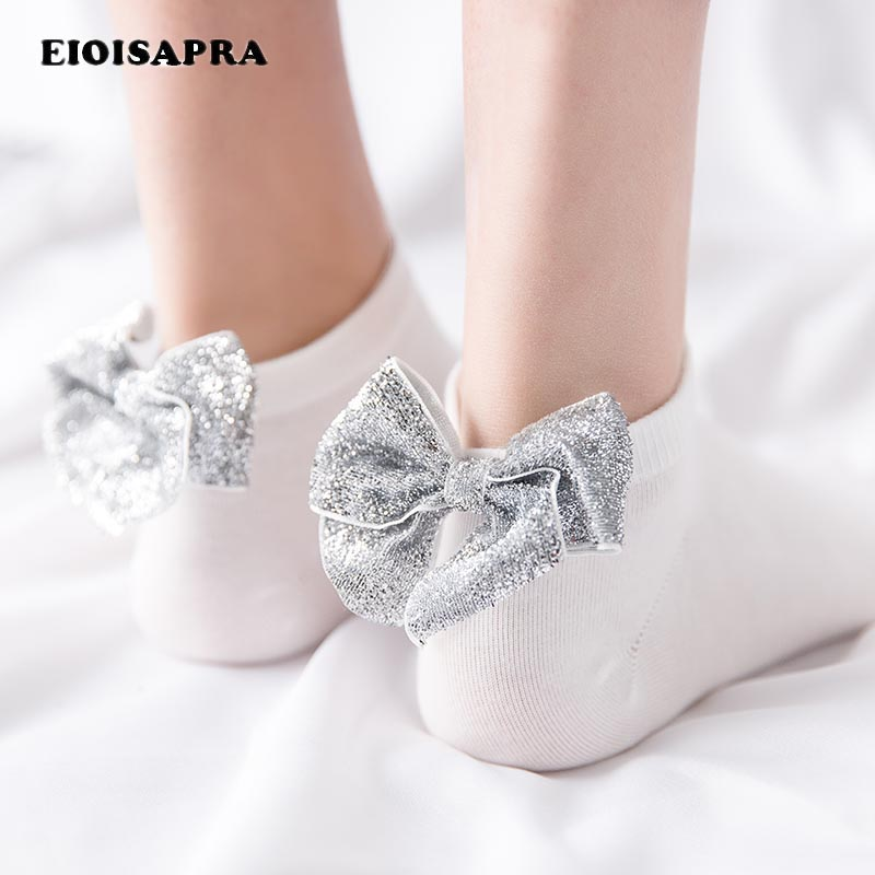 [EIOISAPRA]Sexy Gold Silver Bowknot Colorful Shining   Socks   Harajuku Japanese Creative Shiny   Socks   Women Cute Calcetines Mujer