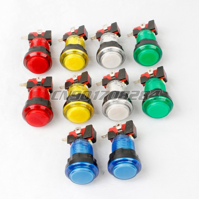 10x New 30mm Full Colors LED lit Illuminated Push Buttons For Arcade Machine DIY Kits Games Parts