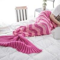 SunnyRain 1-Piece Örme Mermaid Battaniye Yetişkin Çocuk Mermaid Kuyruk Kanepe Atmak Battaniye Için Battaniye 90x190 cm