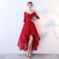 Burgundy Prom Party Dresses With Sleeve High Low Off Shoulder Lace Homecoming Cocktail Dress For Graduation Vestido De Festa 168