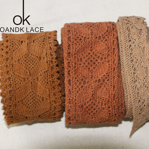 5 yard knitted pure Coffee brown cotton trim decoration DIY sewing curtain craft decoration 25-50mm lace tape