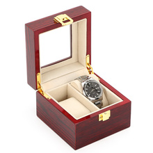 2 Grids Red Wood Watches Case