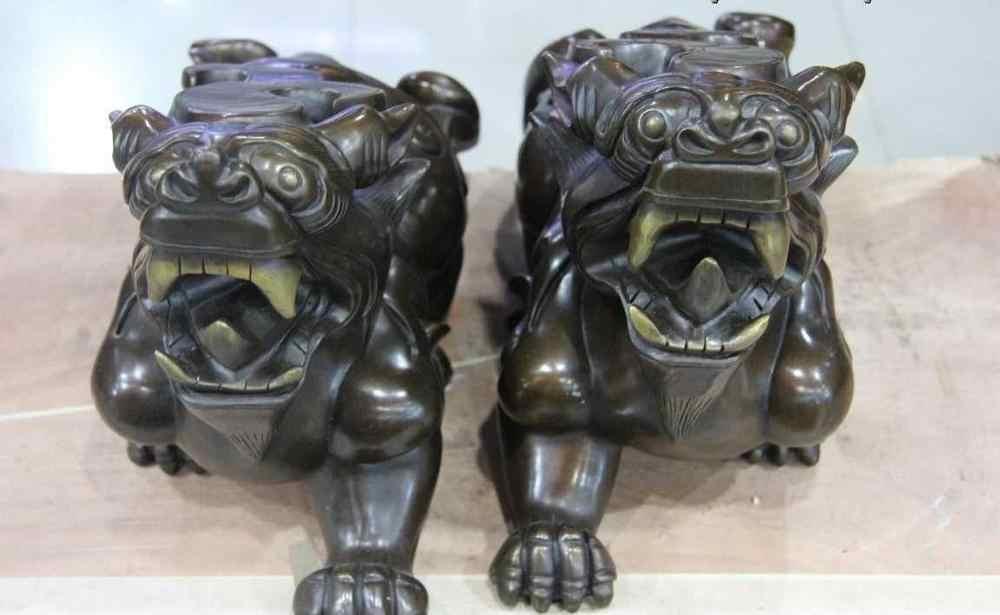 נחושת ברונזה פנג שואי הרע Foo כלבי האריה Kylin חית PiXiu חיילים אמיצים זוג