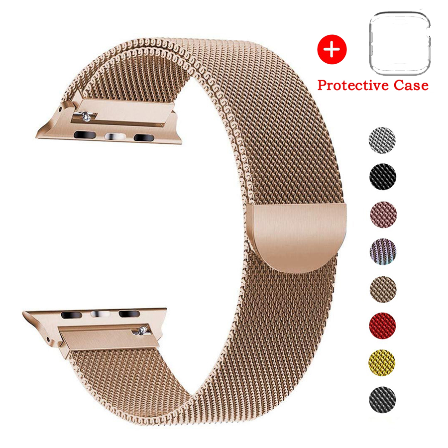 Case+Milanese Loop Strap Stainless Steel Bracelet For Apple Watch 4 5 Band 44mm 40mm Strap For Apple Watch 3 2 1 Band 42mm 38mm image