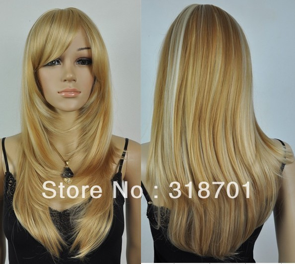 Long Golden With Blonde Highlights Synthetic Hair Wig For Women