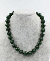 TAJWAN kamień zielony jades okrągły natura 14mm naszyjniki hurtownie koraliki 18 inch FPPJ FPPJ