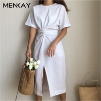 MENKAY 2018 Summer New Solid Color Loose Round Neck High Waist Knot Short Sleeves Split