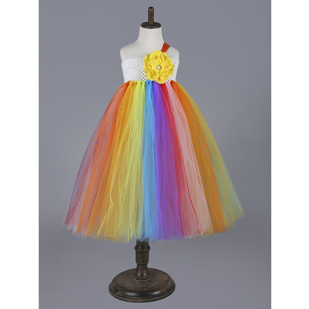 Rainbow Party Girls Tutu Dress Colorful Kids Baby Clothing for Party Flower Casual Girl Birthday Dress Costume rainbow flower girl tutu dress for