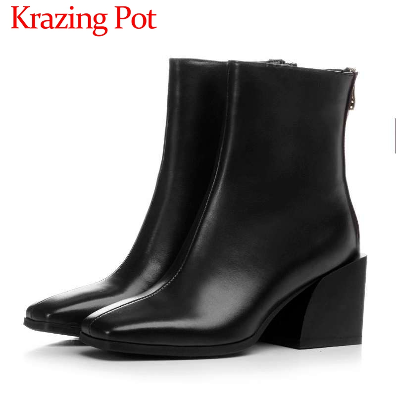 European style solid classic square toe square high heels solid natural leather plus size chelsea boots dress ankle boots L04 цены онлайн