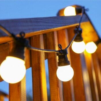 наружная освещенная гирлянда | Aurobear 13 м G50 Led глобусы лампы фестонная нить огни Открытый водостойкий шар Строка Рождество Гирлянда Свадьба сад Вечерние