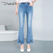 Dongdongta бренд 2017 новый летний женские джинсы девушка моды джинсы лодыжки длина брюки середины талии свободные flare брюки джинсы женщина