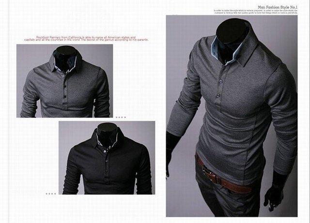Free Shipping 2012 New Characteristic Collar Men's Polo T-Shirts Casual Slim Fit Stylish Dress Shirt Color:Black,Gray M-XXL