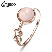 CUTEECO Natural Pink Moonstone Ring Infinity Knot Bride Wedding Engagement Brand Gifts