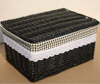Free shipping! size Rustic rattan storage basket Large lid storage box black customize