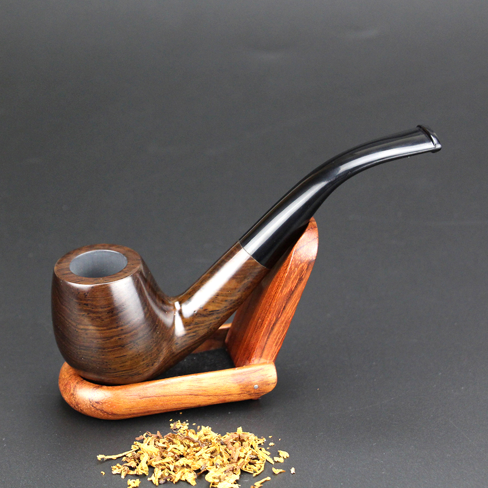 Classic Bent Ebony Wood Pipe med Verktøy 9mm Filter Røykerør 15cm Tobaksrør Best Wooden Pipe FT-508D