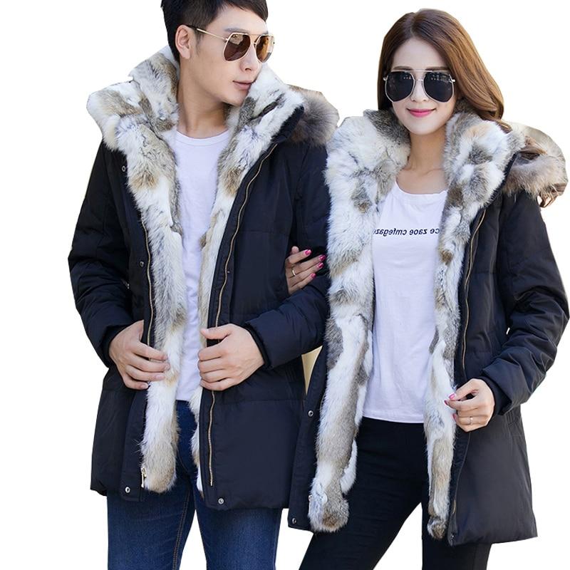 add plus size s-5XL Ultra warm Duck Down Jacket lovers Overcoat Jackets men Winter Coats Parkas Padded Rabbit Real Fur collar