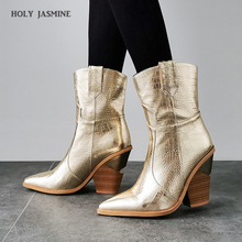 2019 Mới Mùa Đông Giày Da Bò Dành Cho Nữ Giày Cao Gót Lông Bên Trong Giày Tây Cổ Chân Giày Bốt Thời Trang Nữ Vàng Bạc giày Nữ