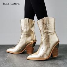 2019 ใหม่ฤดูหนาวรองเท้าคาวบอยสำหรับรองเท้าส้นสูงขนสัตว์ภายในWestern Bootsข้อเท้ารองเท้าบูทสำหรับสุภาพสตรีแฟชั่นทองเงินรองเท้าผู้หญิง