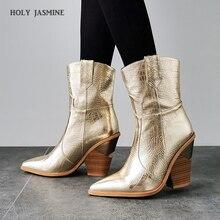 2019 yeni kış kovboy çizmeleri kadınlar için yüksek topuklu kürk batı çizmeler yarım çizmeler kadınlar için moda altın gümüş ayakkabı kadın