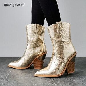 Image 1 - 2019 جديد الشتاء أحذية كاوبوي ل حذاء نسائي بكعب عالٍ الفراء داخل الغربية الأحذية حذاء من الجلد للنساء موضة الذهب الفضة حذاء امرأة