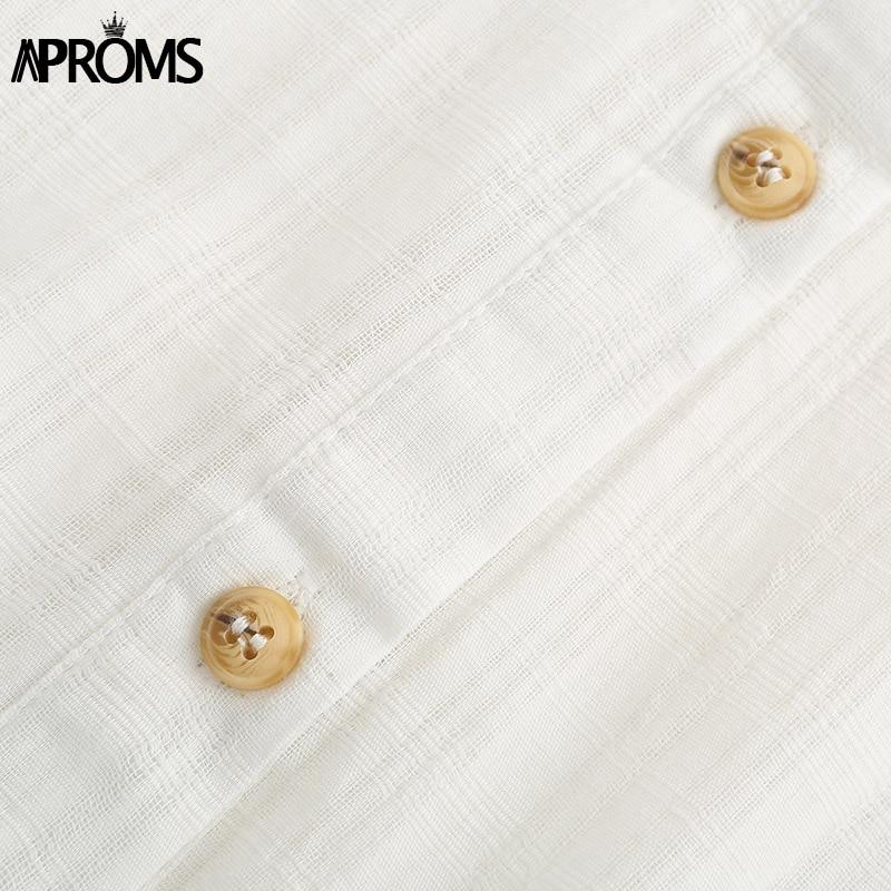 Aproms Elegant Cotton Linen 3/4 Sleeve Shirt Dress Summer 2020 Beach Style Drawstring Waist White Loose Dresses Female Vestidos 4