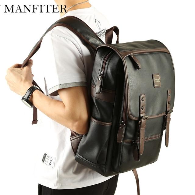 fafc7dd710 MANFITER 2017 Men Leather Backpack Large Capacity Black School Backpack  Mens Laptop Backpack Travel Backpack Mochila Escolar